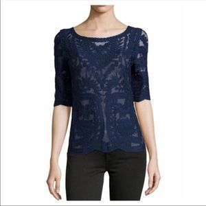 Laundry by Shelli Segal Mesh & Lace Boatneck Top